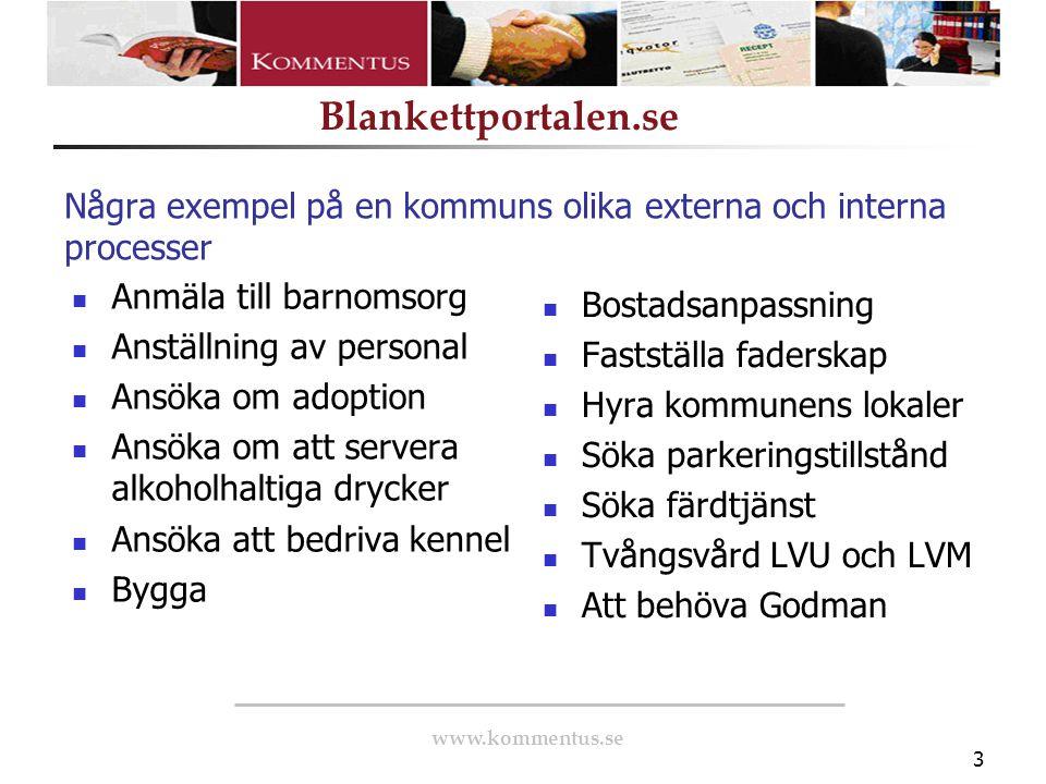 www.kommentus.se Blankettportalen.se 3 Några exempel på en kommuns olika externa och interna processer Anmäla till barnomsorg Anställning av personal