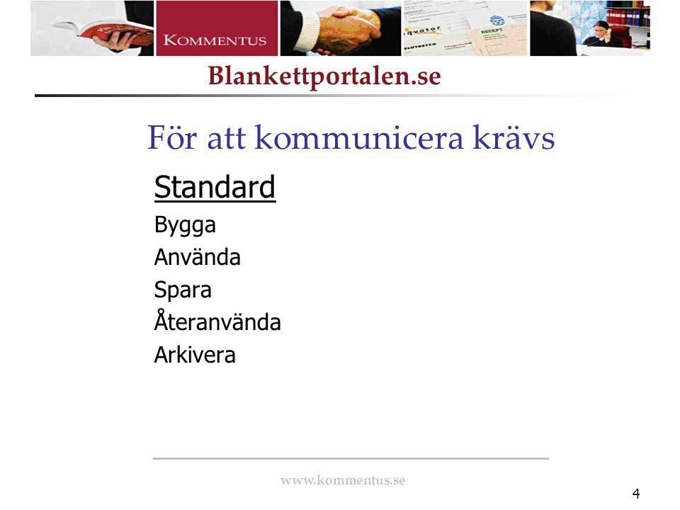 www.kommentus.se Blankettportalen.se 5 Övergripande layout Blankett-/formulärlayout Navigering Språk Ifyllnadsstöd, användarhjälp och felmeddelanden Fältlayout, fältkontroller och fältnamn Bifoga bilagor Spara lokalt Elektronisk underskrift Utskrift Elektroniskt inskick Användbarhet och tillgänglighet Dokumentskydd Källor Vervas Vägledningen 24-timmarswebben 3.0 Folkbokföringslagen 18§ (1991:481) Skatteverkets information om personnummer, RSV 704, utgåva 7 Lag om identitetsbeteckning för juridiska personer m.fl (SFS 1974:174 och senaste ändring SFS 2006:600) Skatteverkets information om Organisationsnummer, SKV 709, utgåva 8 Riktlinjer för utveckling av PDF-baserade blanketter och formulär