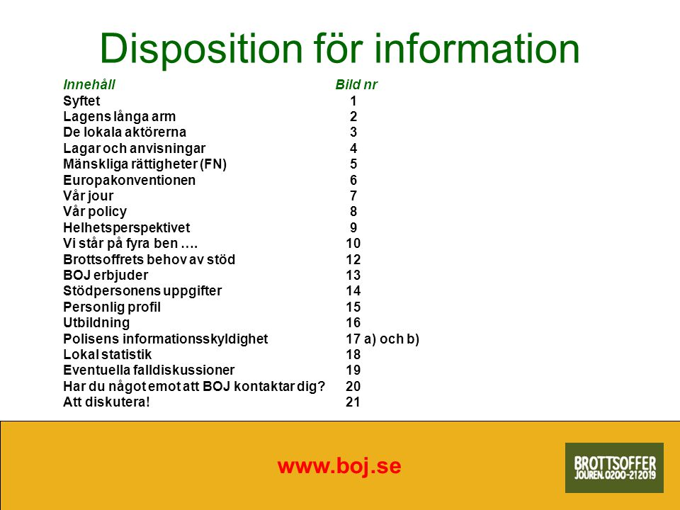 Disposition för information www.boj.se InnehållBild nr Syftet 1 Lagens långa arm 2 De lokala aktörerna 3 Lagar och anvisningar 4 Mänskliga rättigheter