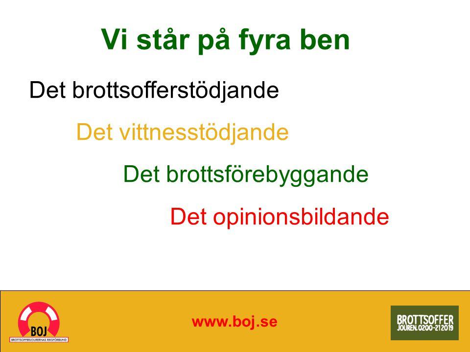 Vi står på fyra ben www.boj.se Det brottsofferstödjande Det vittnesstödjande Det brottsförebyggande Det opinionsbildande