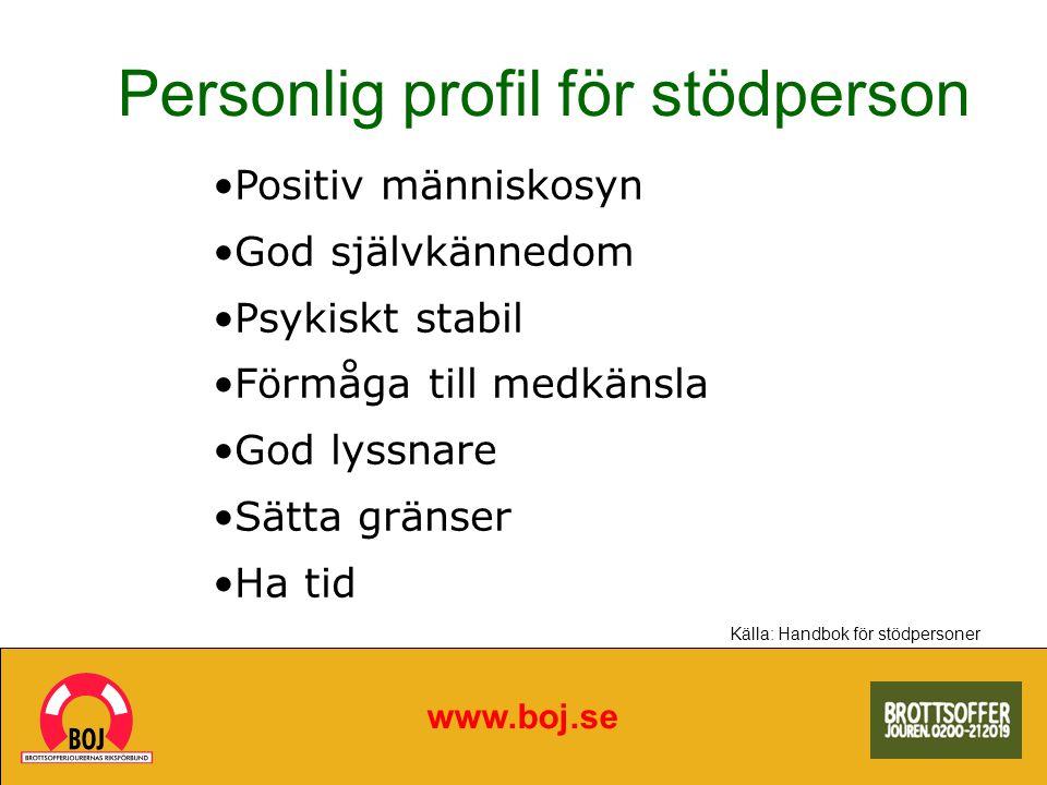 Personlig profil för stödperson www.boj.se Positiv människosyn God självkännedom Psykiskt stabil Förmåga till medkänsla God lyssnare Sätta gränser Ha