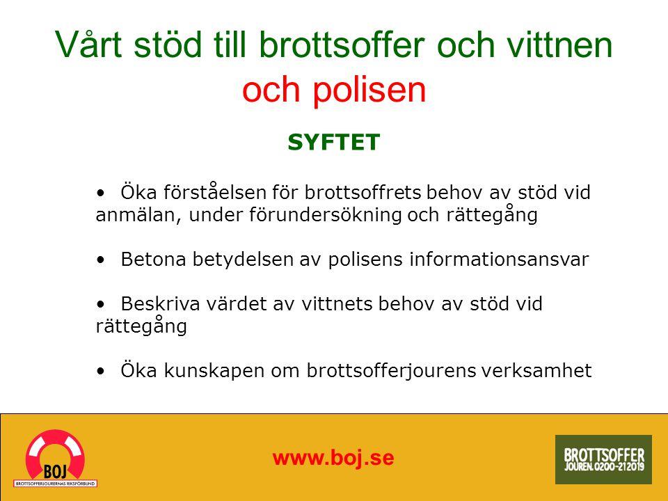Brottsofferjouren erbjuder: www.boj.se Emotionellt stöd och praktiska råd Hjälp med kontakter med myndigheter och försäkringsbolag Stöd i samband med rättegång Någon att tala med som förstår din situation
