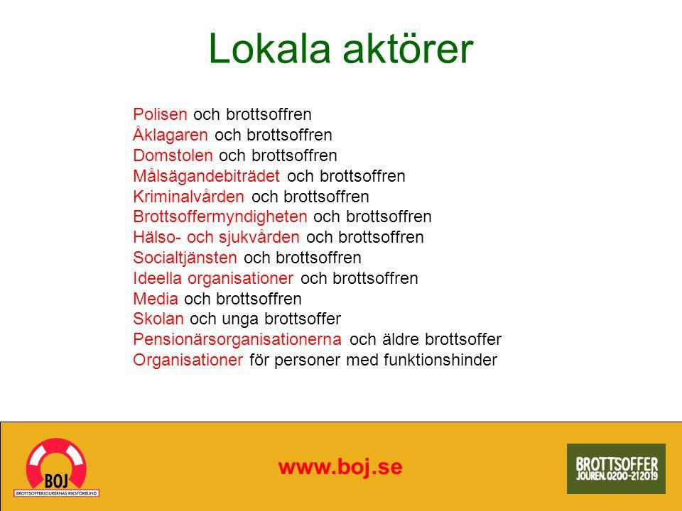 Lokala aktörer www.boj.se Polisen och brottsoffren Åklagaren och brottsoffren Domstolen och brottsoffren Målsägandebiträdet och brottsoffren Kriminalv