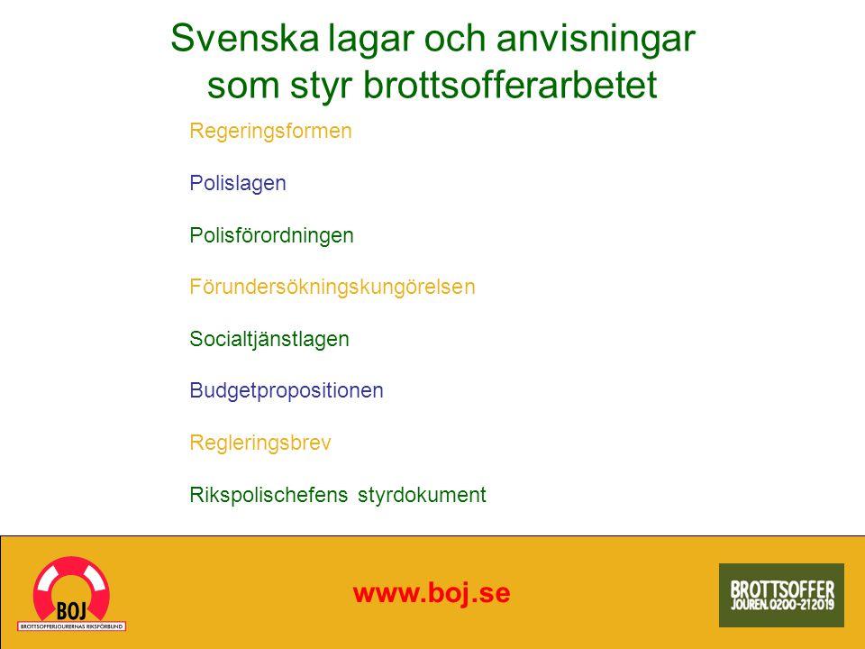 Svenska lagar och anvisningar som styr brottsofferarbetet www.boj.se Regeringsformen Polislagen Polisförordningen Förundersökningskungörelsen Socialtj