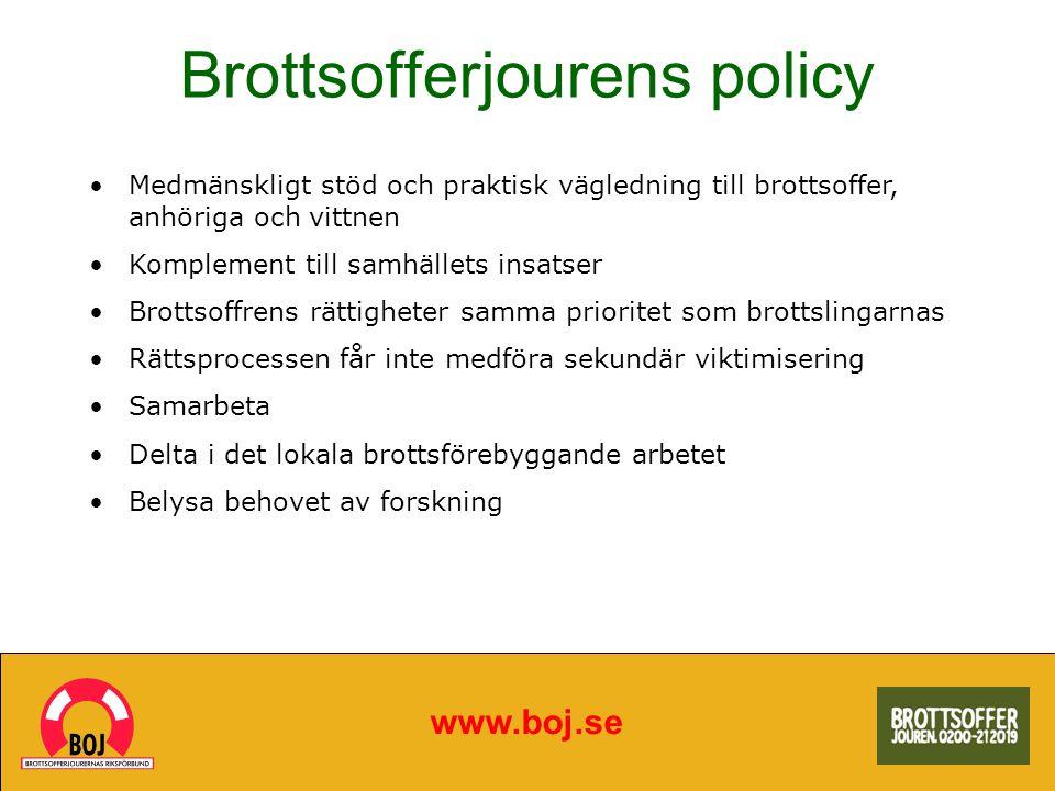 Brottsofferjourens policy www.boj.se Medmänskligt stöd och praktisk vägledning till brottsoffer, anhöriga och vittnen Komplement till samhällets insat