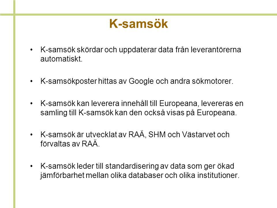 K-samsök skördar och uppdaterar data från leverantörerna automatiskt.