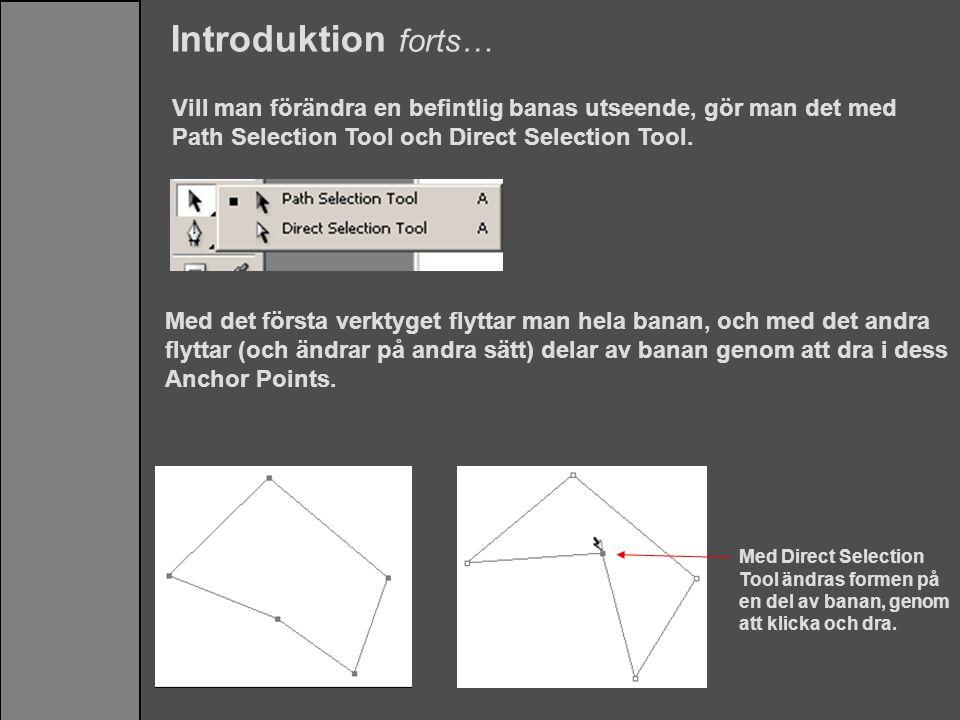 Introduktion forts… Vill man förändra en befintlig banas utseende, gör man det med Path Selection Tool och Direct Selection Tool. Med det första verkt