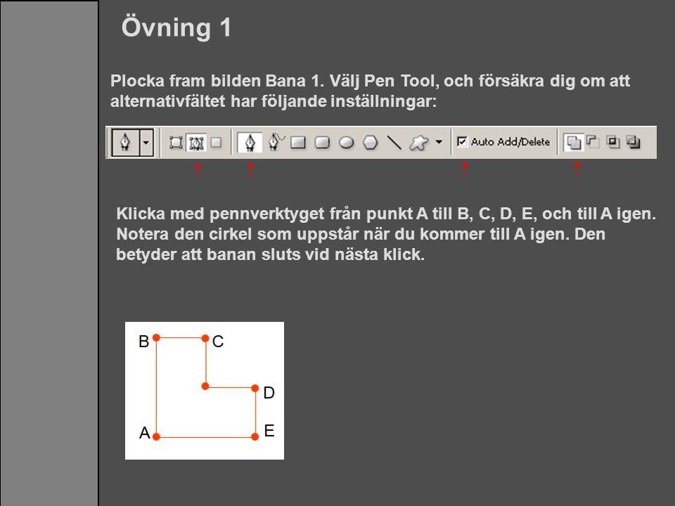 Plocka fram bilden Bana 1. Välj Pen Tool, och försäkra dig om att alternativfältet har följande inställningar: Övning 1 Klicka med pennverktyget från