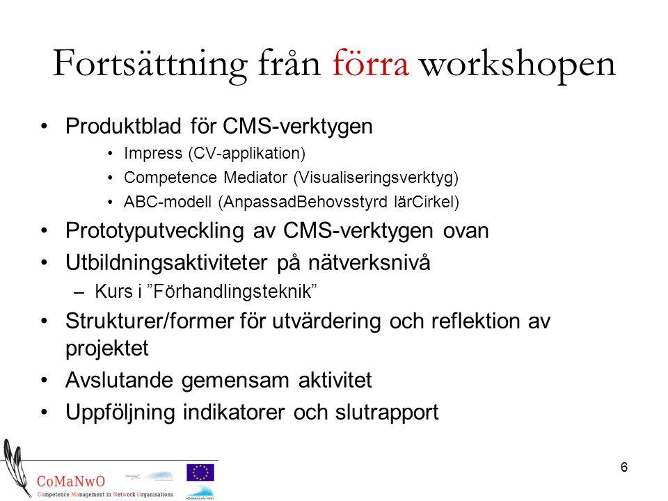 6 Fortsättning från förra workshopen Produktblad för CMS-verktygen Impress (CV-applikation) Competence Mediator (Visualiseringsverktyg) ABC-modell (AnpassadBehovsstyrd lärCirkel) Prototyputveckling av CMS-verktygen ovan Utbildningsaktiviteter på nätverksnivå –Kurs i Förhandlingsteknik Strukturer/former för utvärdering och reflektion av projektet Avslutande gemensam aktivitet Uppföljning indikatorer och slutrapport