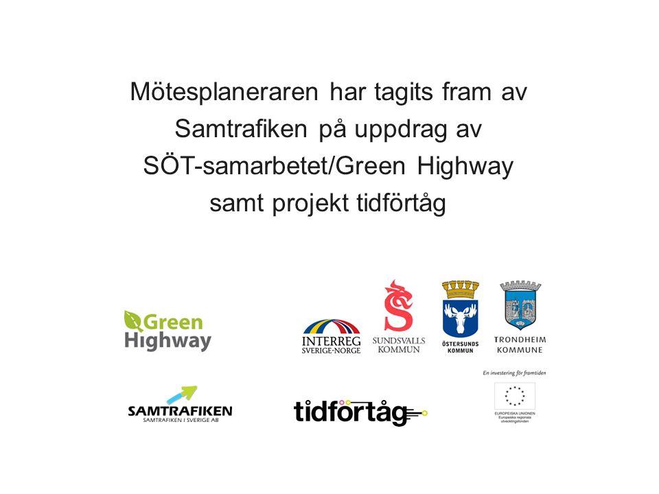 .se Mötesplaneraren har tagits fram av Samtrafiken på uppdrag av SÖT-samarbetet/Green Highway samt projekt tidförtåg