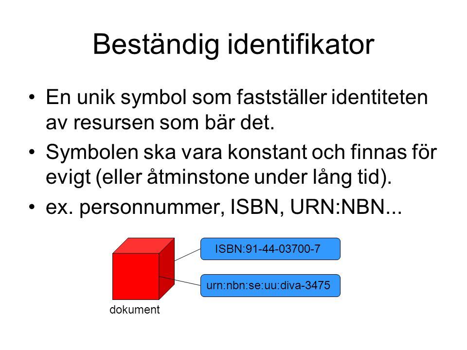 Beständig identifikator En unik symbol som fastställer identiteten av resursen som bär det. Symbolen ska vara konstant och finnas för evigt (eller åtm