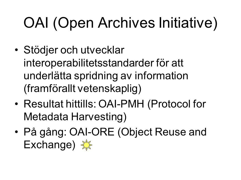 OAI (Open Archives Initiative) Stödjer och utvecklar interoperabilitetsstandarder för att underlätta spridning av information (framförallt vetenskapli