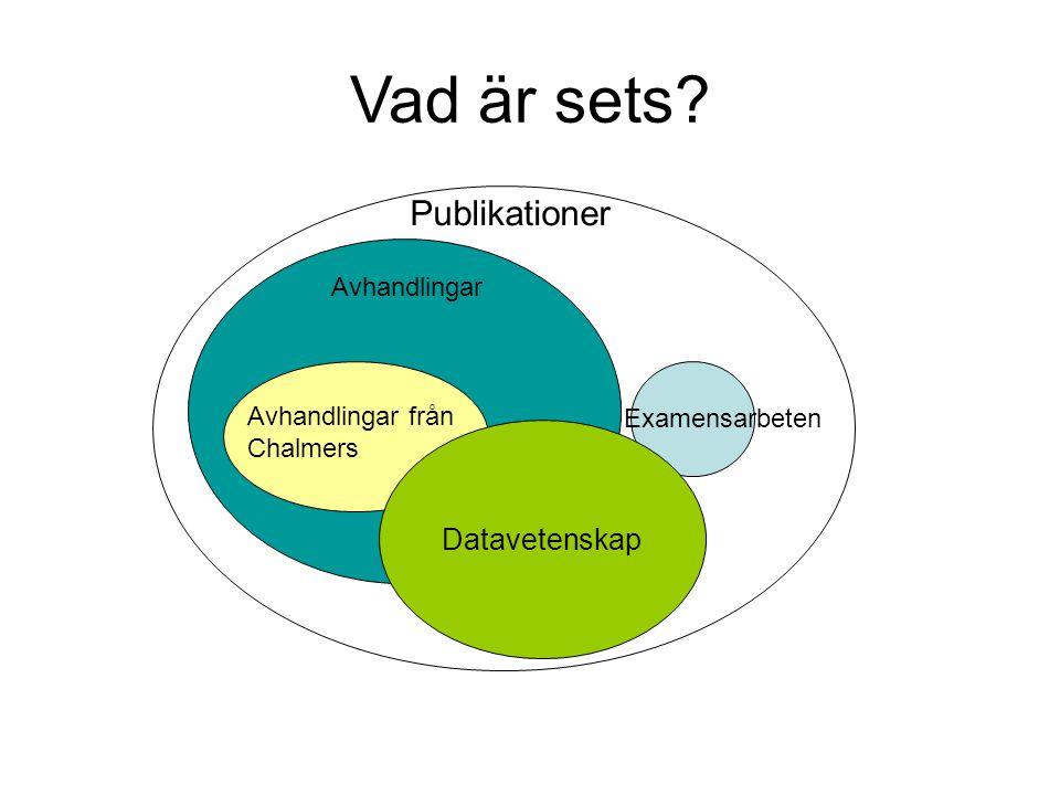 Avhandlingar Publikationer Examensarbeten Avhandlingar från Chalmers Vad är sets? Datavetenskap