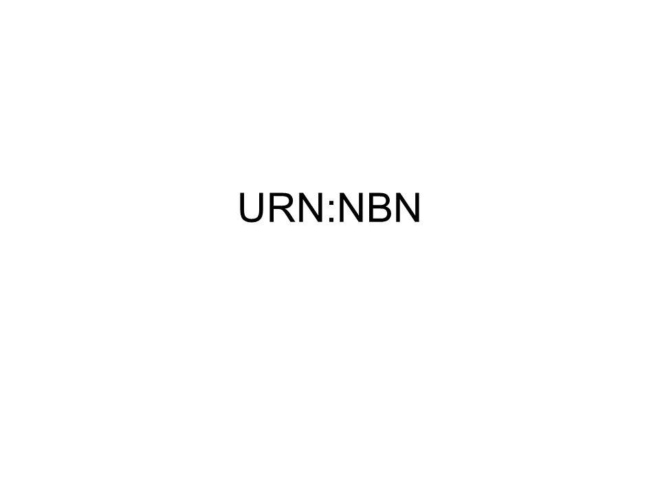 Om man inte vill ha en egen undernamnrymd Det går att skapa enstaka URN:NBN- identifikatorer Dessa enstaka identifikatorer hamnar i dagsläget inte under någon undernamnrymd utan direkt efter landskod.