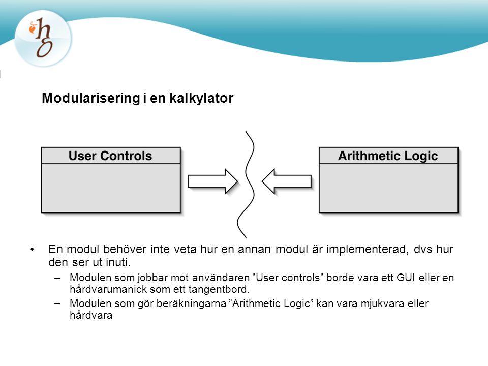 Modularisering i en kalkylator En modul behöver inte veta hur en annan modul är implementerad, dvs hur den ser ut inuti.