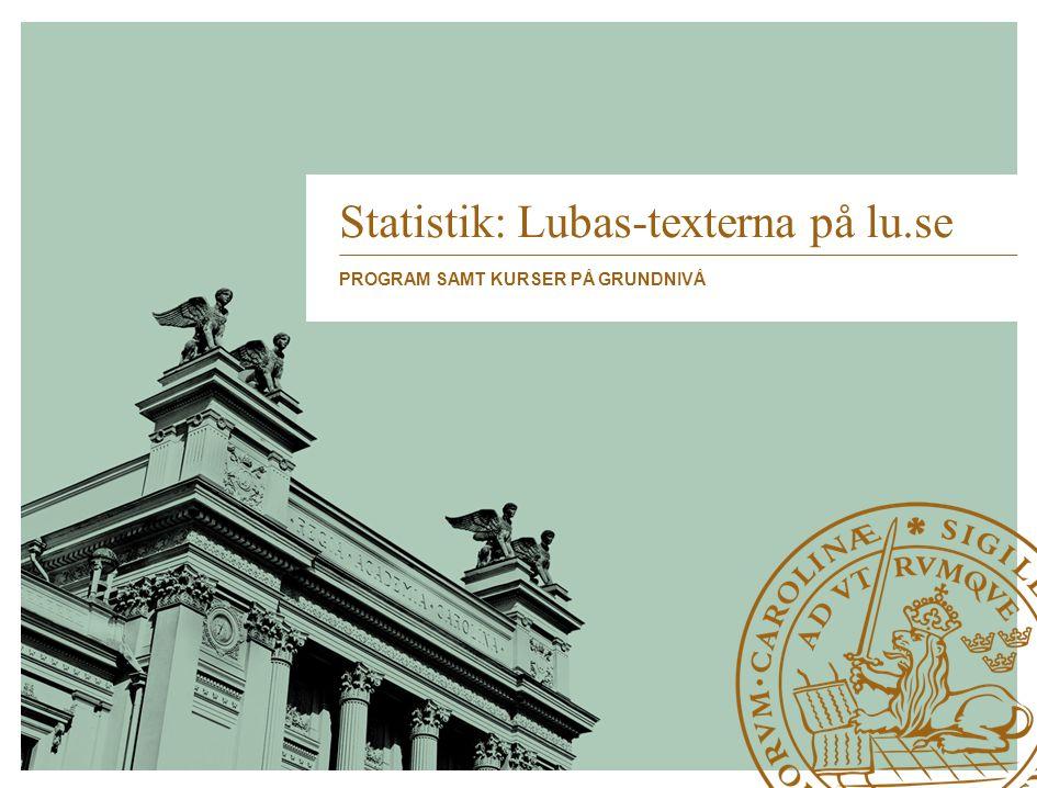 Statistik: Lubas-texterna på lu.se PROGRAM SAMT KURSER PÅ GRUNDNIVÅ