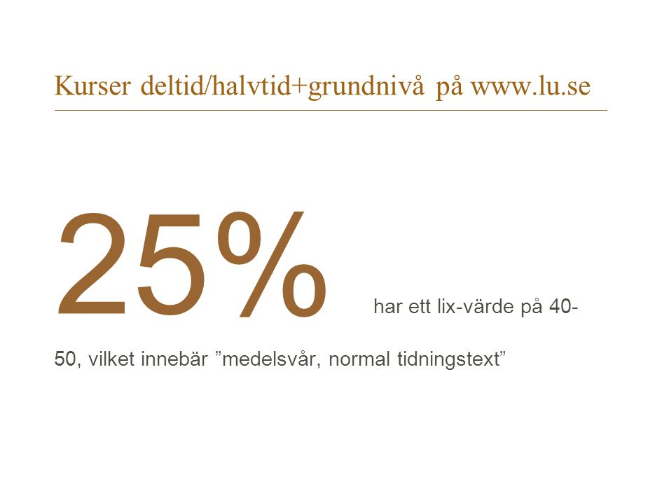"""Kurser deltid/halvtid+grundnivå på www.lu.se 25% har ett lix-värde på 40- 50, vilket innebär """"medelsvår, normal tidningstext"""""""