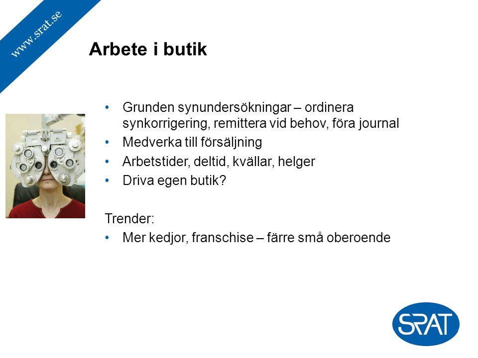 www.srat.se Grunden synundersökningar – ordinera synkorrigering, remittera vid behov, föra journal Medverka till försäljning Arbetstider, deltid, kväl