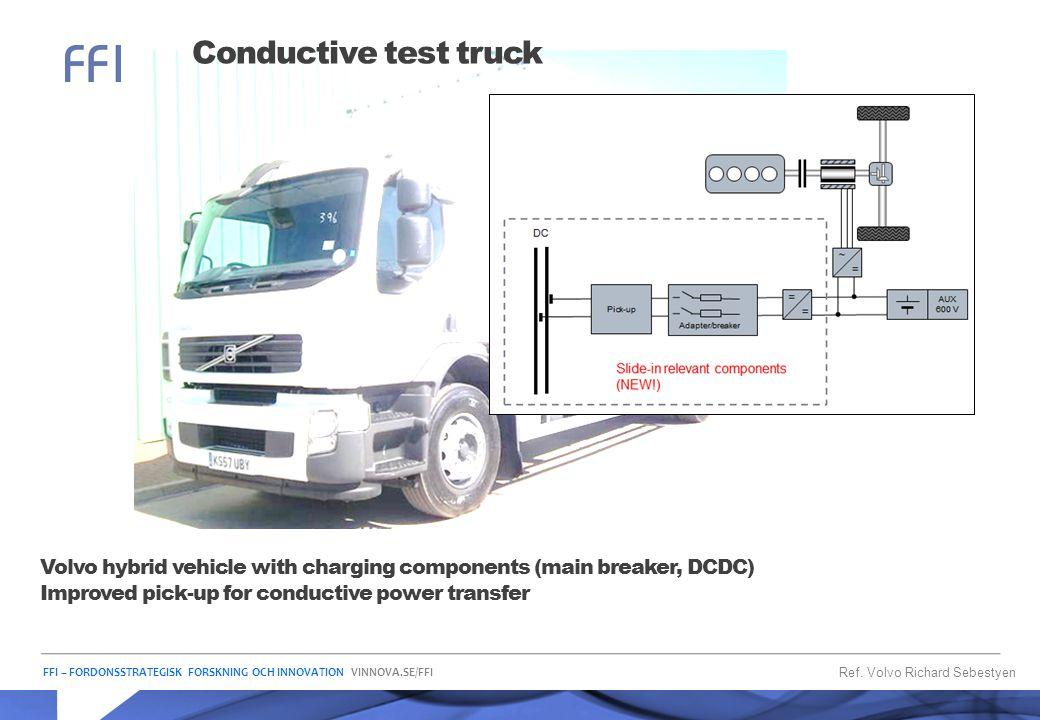 FFI – FORDONSSTRATEGISK FORSKNING OCH INNOVATION VINNOVA.SE/FFI Conductive test truck Ref. Volvo Richard Sebestyen Volvo hybrid vehicle with charging