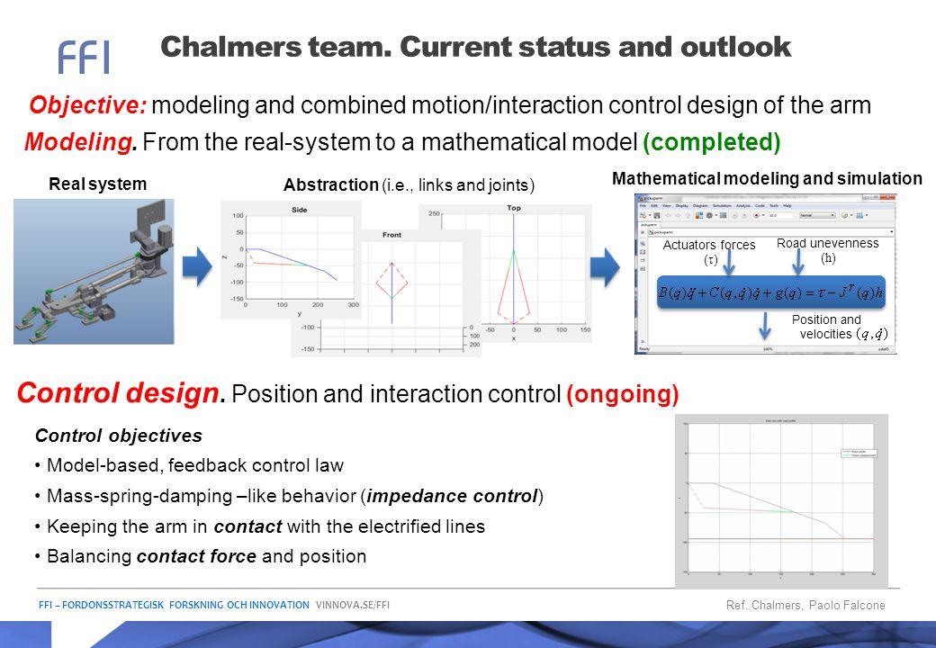 FFI – FORDONSSTRATEGISK FORSKNING OCH INNOVATION VINNOVA.SE/FFI Chalmers team. Current status and outlook Objective: modeling and combined motion/inte