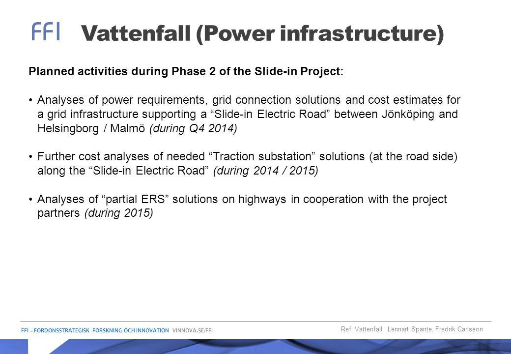 FFI – FORDONSSTRATEGISK FORSKNING OCH INNOVATION VINNOVA.SE/FFI Vattenfall (Power infrastructure) Ref. Vattenfall, Lennart Spante, Fredrik Carlsson Pl
