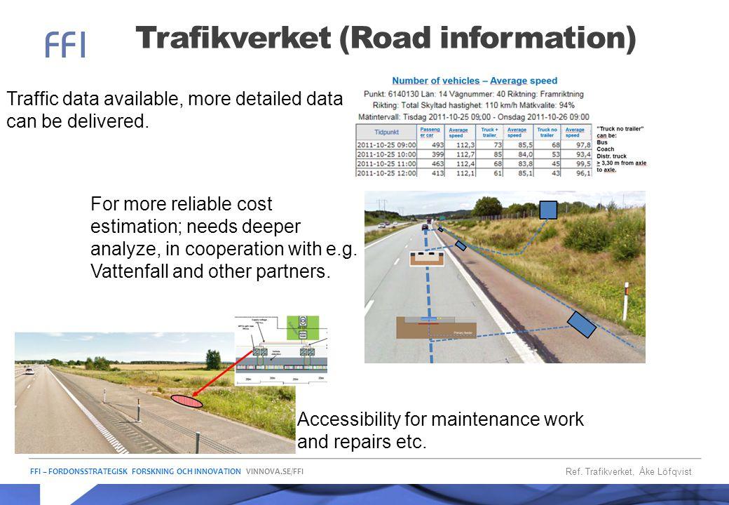 FFI – FORDONSSTRATEGISK FORSKNING OCH INNOVATION VINNOVA.SE/FFI Trafikverket (Road information) Ref. Trafikverket, Åke Löfqvist Traffic data available