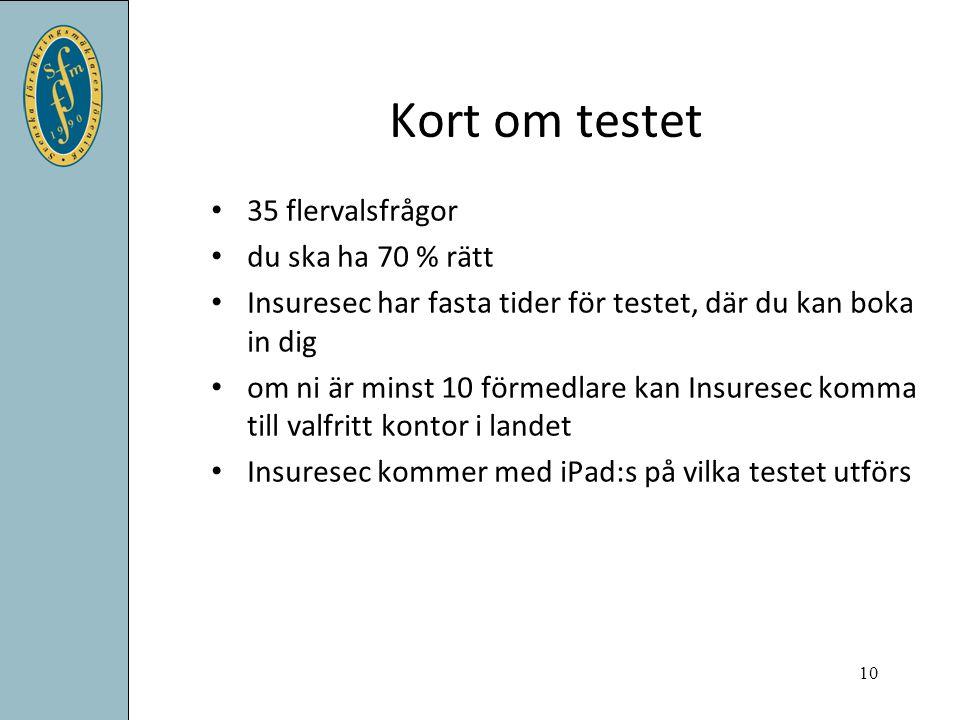 Kort om testet 35 flervalsfrågor du ska ha 70 % rätt Insuresec har fasta tider för testet, där du kan boka in dig om ni är minst 10 förmedlare kan Ins