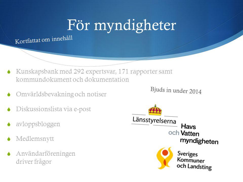 För myndigheter  Kunskapsbank med 292 expertsvar, 171 rapporter samt kommundokument och dokumentation  Omvärldsbevakning och notiser  Diskussionsli