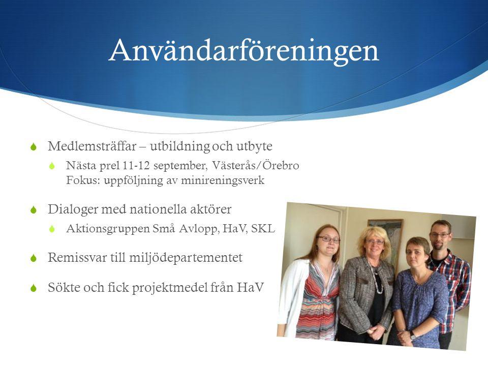 Användarföreningen  Medlemsträffar – utbildning och utbyte  Nästa prel 11-12 september, Västerås/Örebro Fokus: uppföljning av minireningsverk  Dial