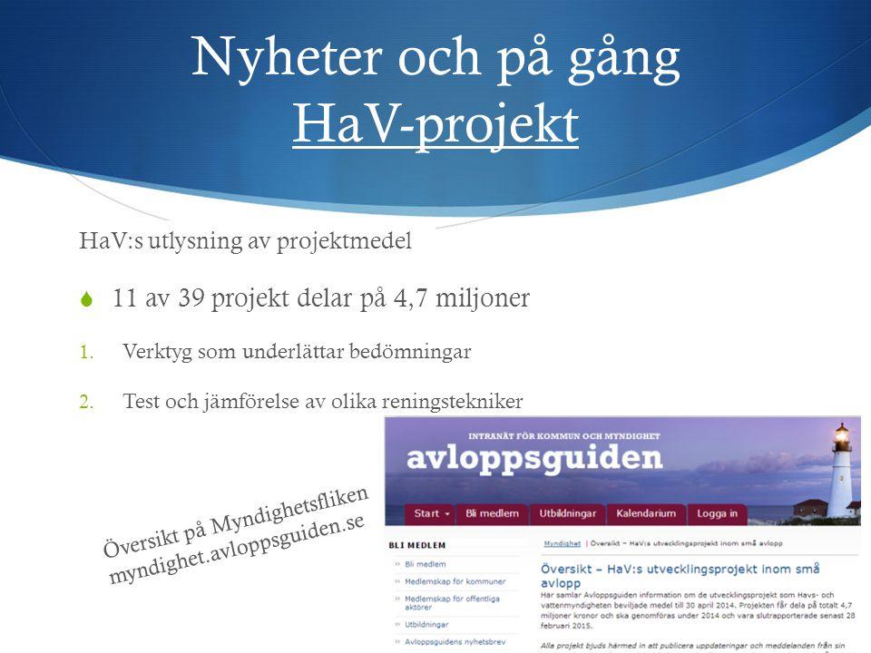 Nyheter och på gång HaV-projekt  11 av 39 projekt delar på 4,7 miljoner 1. Verktyg som underlättar bedömningar 2. Test och jämförelse av olika rening