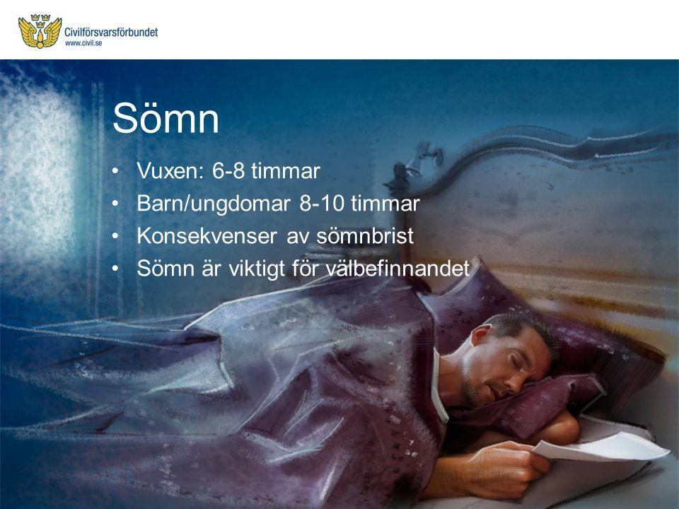 Vuxen: 6-8 timmar Barn/ungdomar 8-10 timmar Konsekvenser av sömnbrist Sömn är viktigt för välbefinnandet Sömn
