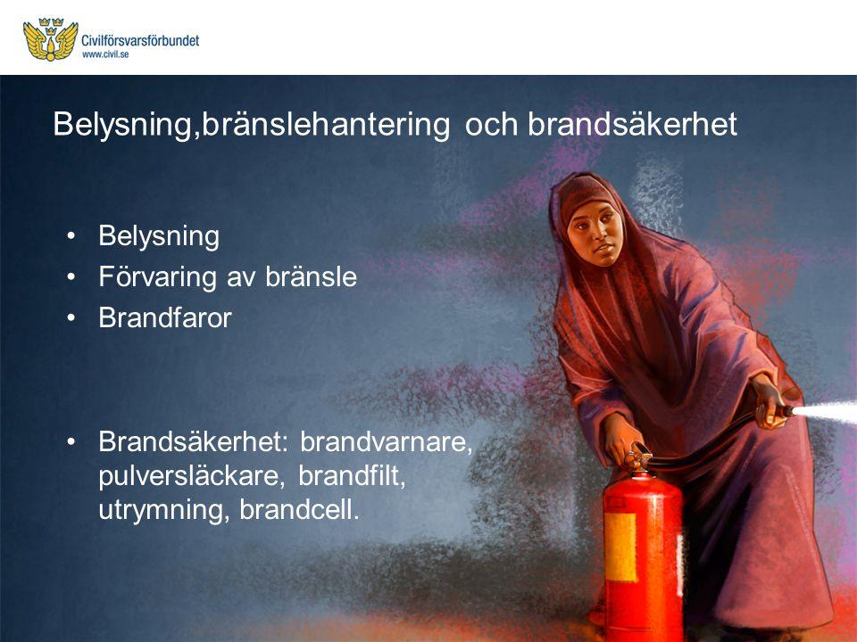 Belysning Förvaring av bränsle Brandfaror Brandsäkerhet: brandvarnare, pulversläckare, brandfilt, utrymning, brandcell. Belysning,bränslehantering och