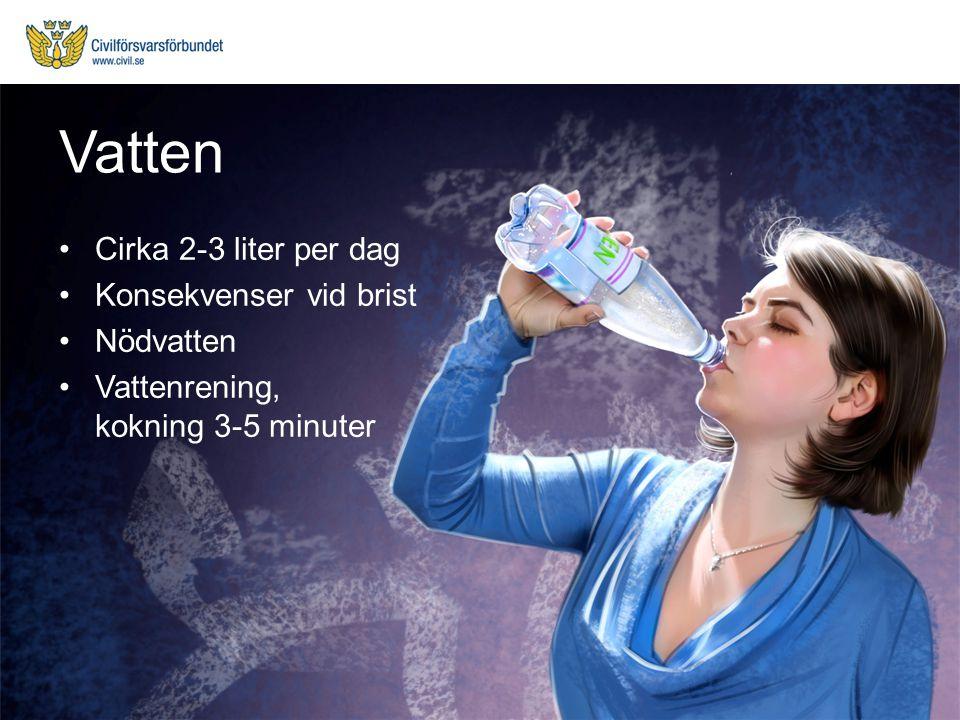 Cirka 2-3 liter per dag Konsekvenser vid brist Nödvatten Vattenrening, kokning 3-5 minuter Vatten