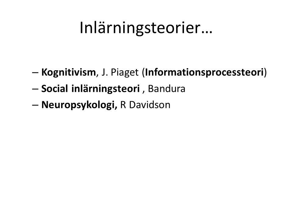 Inlärningsteorier… – Kognitivism, J.