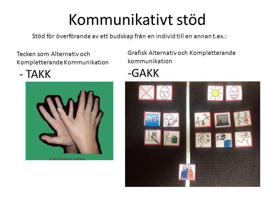 Kommunikativt stöd Stöd för överförande av ett budskap från en individ till en annan t.ex.: Tecken som Alternativ och Kompletterande Kommunikation - T