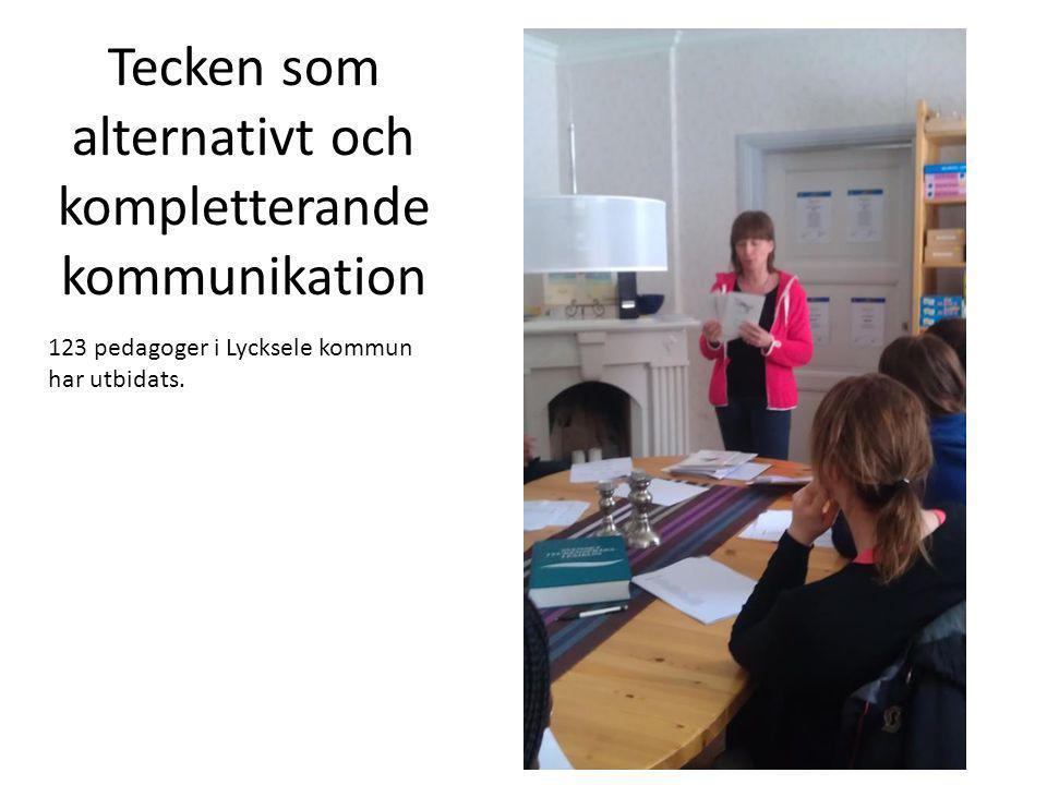 Tecken som alternativt och kompletterande kommunikation 123 pedagoger i Lycksele kommun har utbidats.