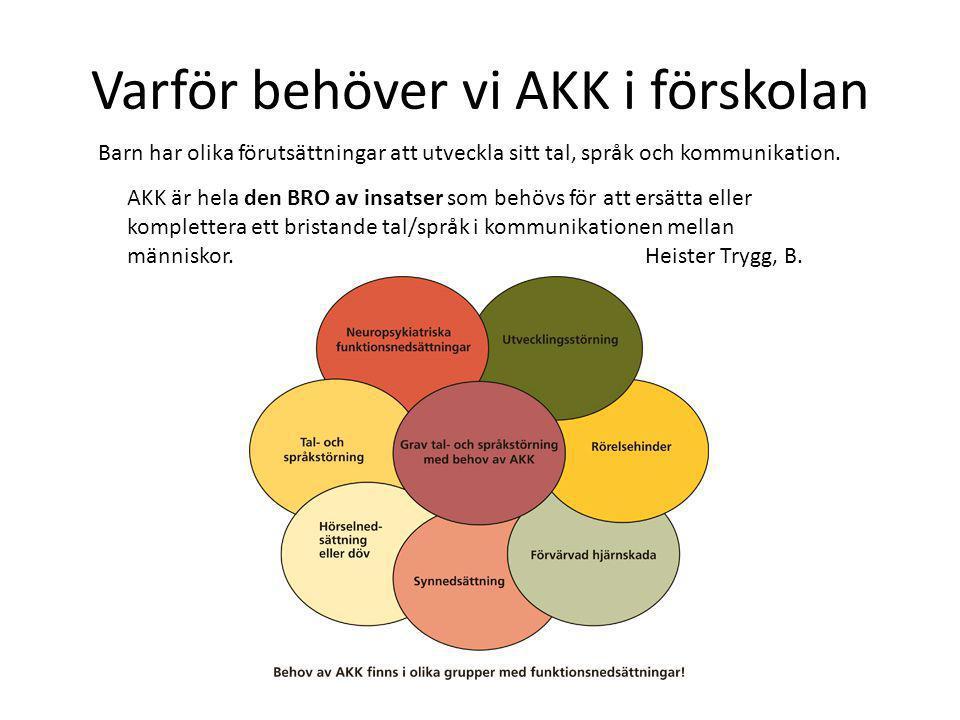 Varför behöver vi AKK i förskolan AKK är hela den BRO av insatser som behövs för att ersätta eller komplettera ett bristande tal/språk i kommunikation