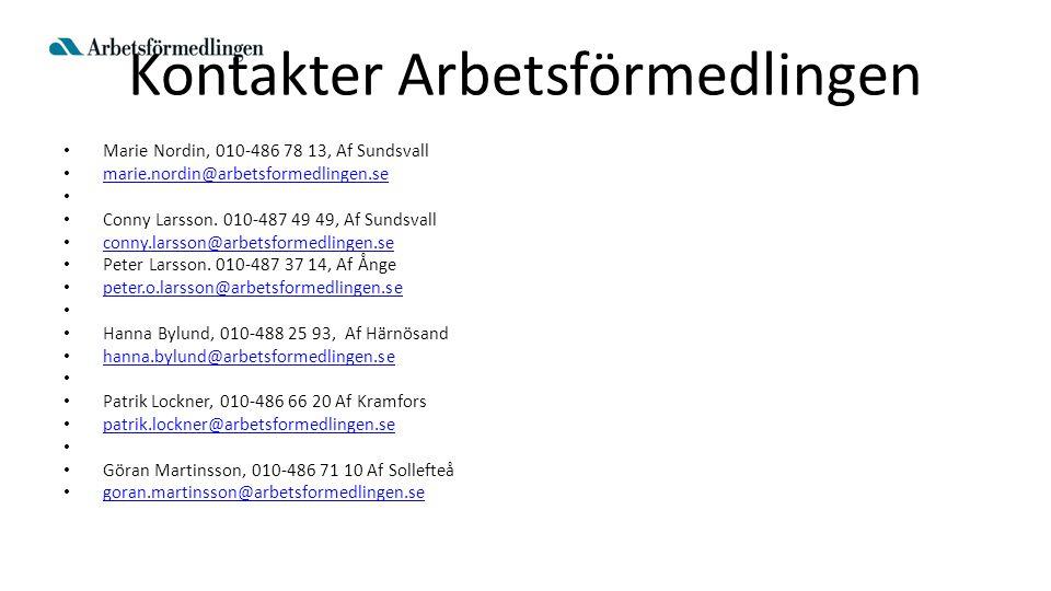 Kontakter Arbetsförmedlingen Marie Nordin, 010-486 78 13, Af Sundsvall marie.nordin@arbetsformedlingen.se Conny Larsson. 010-487 49 49, Af Sundsvall c