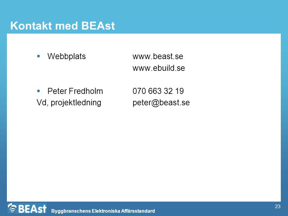Byggbranschens Elektroniska Affärsstandard 23 Kontakt med BEAst  Webbplats www.beast.se www.ebuild.se  Peter Fredholm070 663 32 19 Vd, projektledningpeter@beast.se