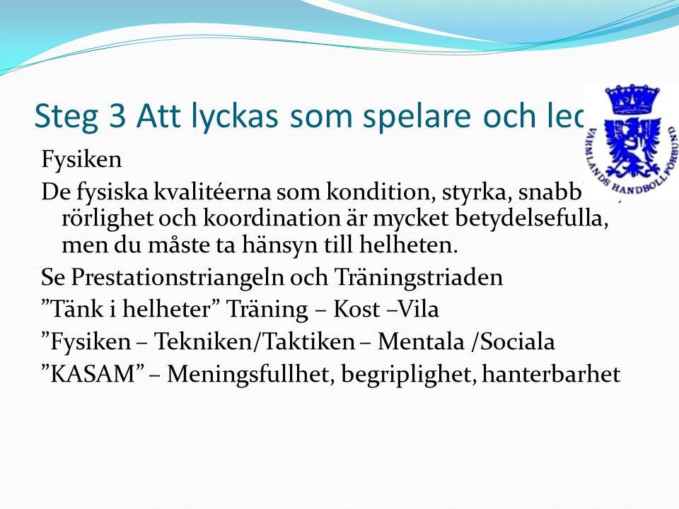 Steg 3 Att lyckas som spelare och ledare Fysiken De fysiska kvalitéerna som kondition, styrka, snabbhet, rörlighet och koordination är mycket betydels