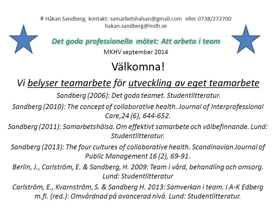 Det goda professionella mötet: Att arbeta i team © Håkan Sandberg, kontakt: samarbetshalsan@gmail.com eller 0738/272700 hakan.sandberg@mdh.se Det goda