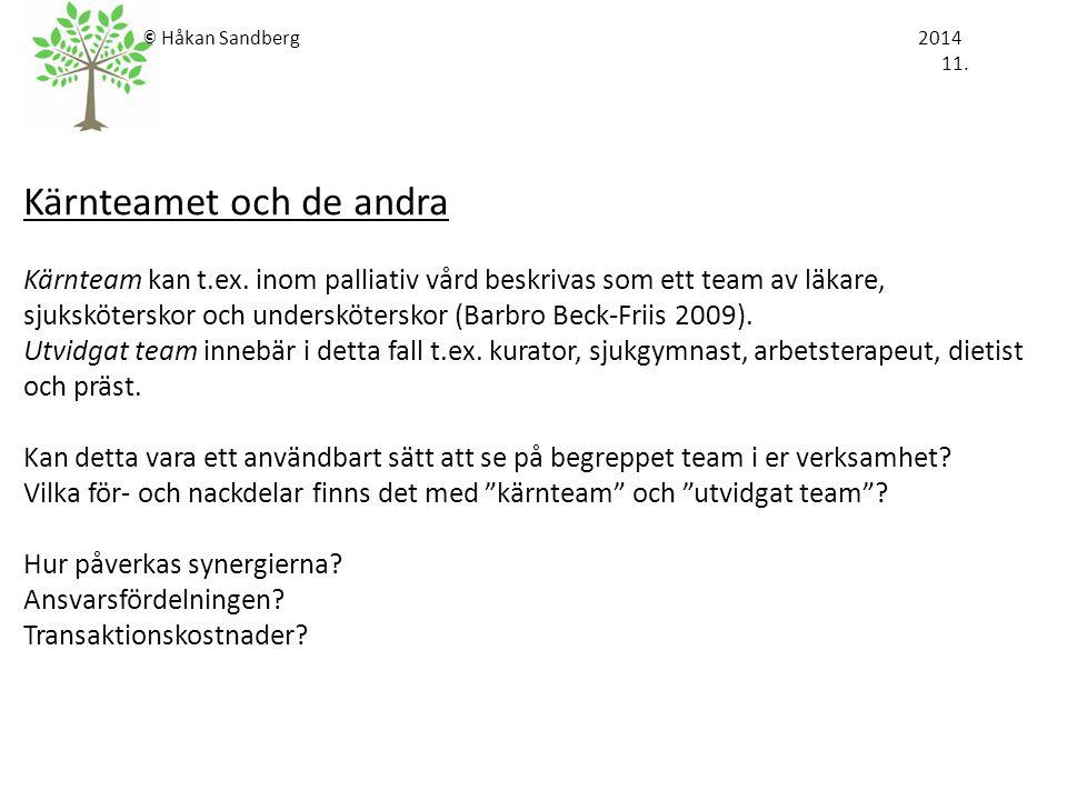 © Håkan Sandberg 2014 11. Kärnteamet och de andra Kärnteam kan t.ex. inom palliativ vård beskrivas som ett team av läkare, sjuksköterskor och underskö