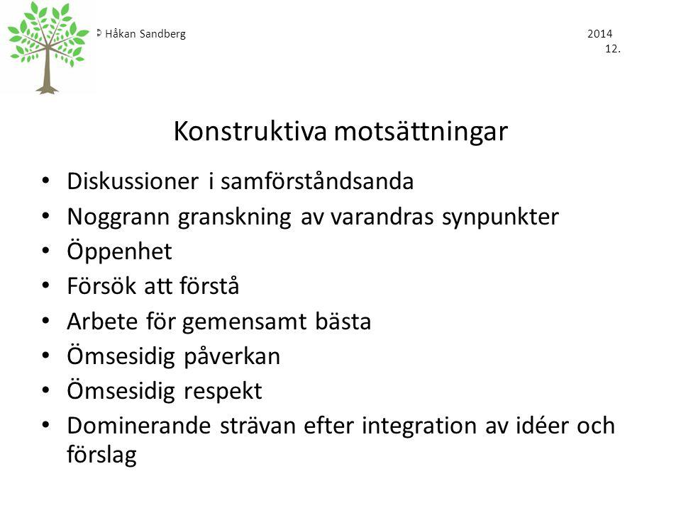© Håkan Sandberg 2014 12. Konstruktiva motsättningar Diskussioner i samförståndsanda Noggrann granskning av varandras synpunkter Öppenhet Försök att f