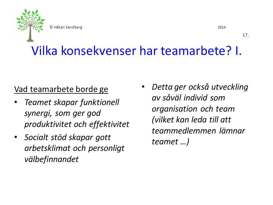 © Håkan Sandberg 2014 17. Vilka konsekvenser har teamarbete? I. Vad teamarbete borde ge Teamet skapar funktionell synergi, som ger god produktivitet o