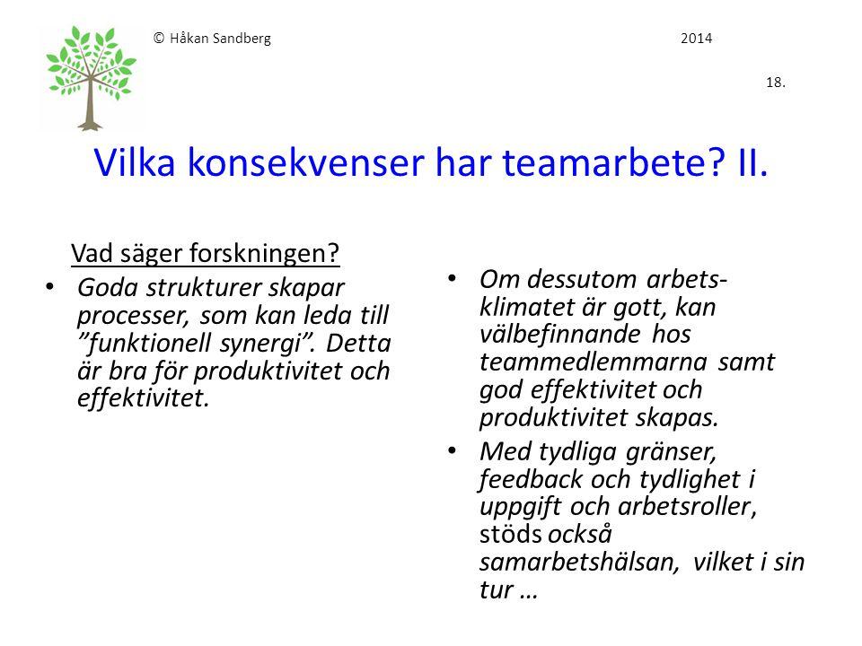 """© Håkan Sandberg 2014 18. Vilka konsekvenser har teamarbete? II. Vad säger forskningen? Goda strukturer skapar processer, som kan leda till """"funktione"""
