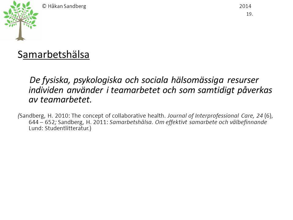 © Håkan Sandberg 2014 19. Samarbetshälsa De fysiska, psykologiska och sociala hälsomässiga resurser individen använder i teamarbetet och som samtidigt