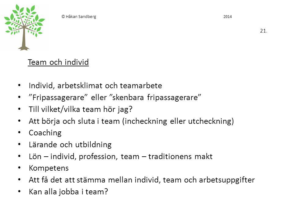 """© Håkan Sandberg 2014 21. Team och individ Individ, arbetsklimat och teamarbete """"Fripassagerare"""" eller """"skenbara fripassagerare"""" Till vilket/vilka tea"""