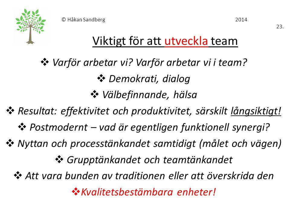 © Håkan Sandberg 2014 23. Viktigt för att utveckla team  Varför arbetar vi? Varför arbetar vi i team?  Demokrati, dialog  Välbefinnande, hälsa  Re