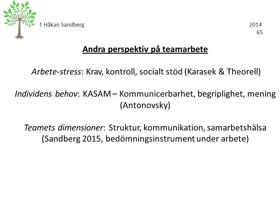 © Håkan Sandberg 2014 65 Andra perspektiv på teamarbete Arbete-stress: Krav, kontroll, socialt stöd (Karasek & Theorell) Individens behov: KASAM – Kom