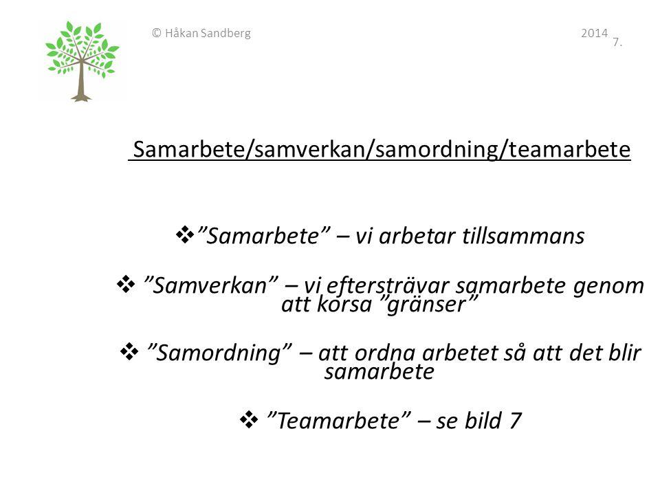 """© Håkan Sandberg 2014 7. Samarbete/samverkan/samordning/teamarbete  """"Samarbete"""" – vi arbetar tillsammans  """"Samverkan"""" – vi eftersträvar samarbete ge"""